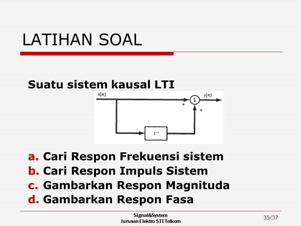 Signal&System Jurusan Elektro STT Telkom 35/37 LATIHAN SOAL Suatu sistem kausal LTI a.Cari Respon Frekuensi sistem b.Cari Respon Impuls Sistem c.Gamba