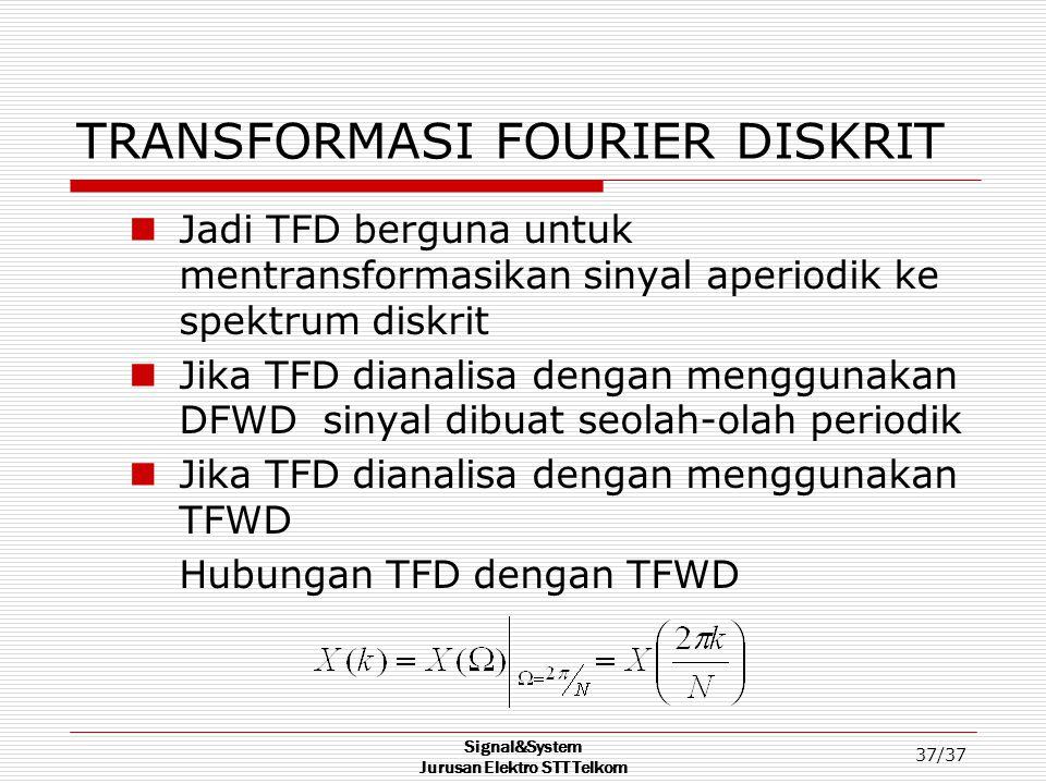 Signal&System Jurusan Elektro STT Telkom 37/37 TRANSFORMASI FOURIER DISKRIT Jadi TFD berguna untuk mentransformasikan sinyal aperiodik ke spektrum dis