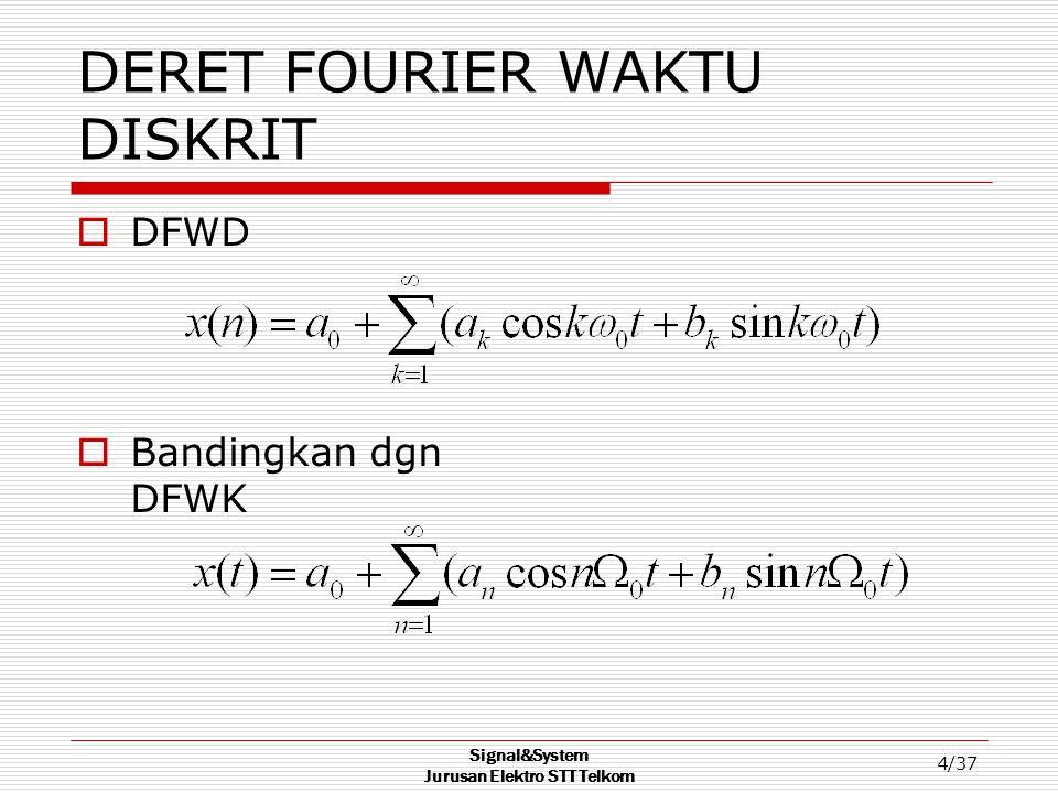 Signal&System Jurusan Elektro STT Telkom 4/37 DERET FOURIER WAKTU DISKRIT  DFWD  Bandingkan dgn DFWK