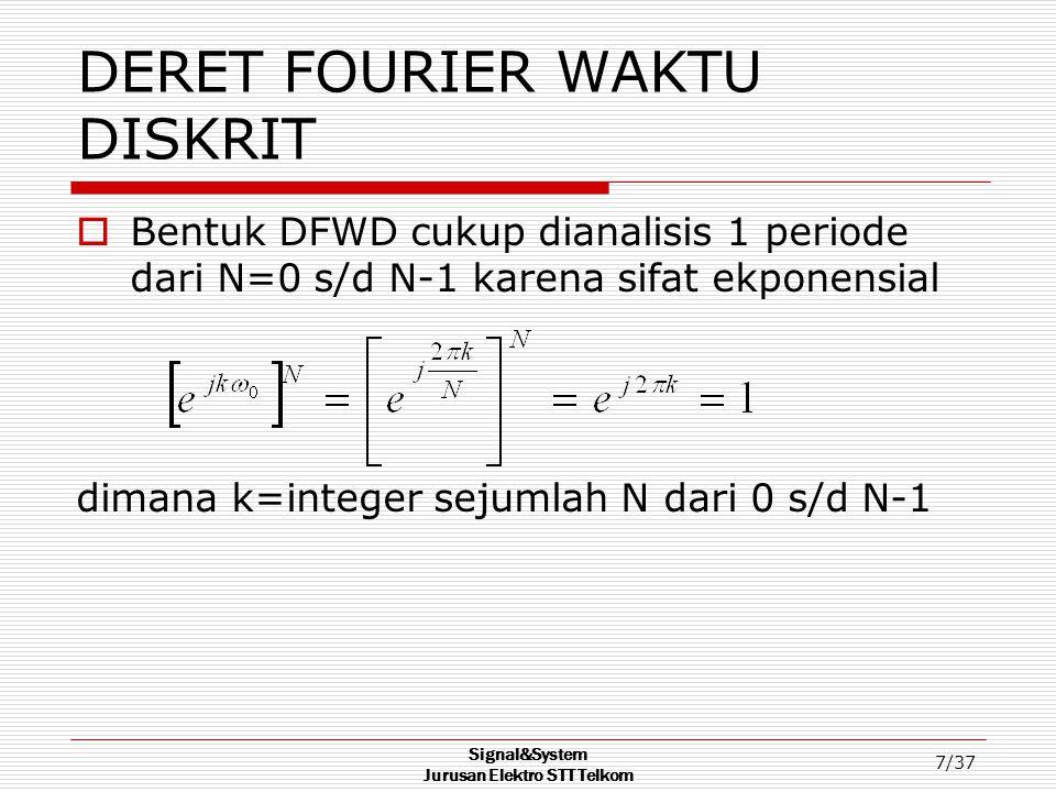 Signal&System Jurusan Elektro STT Telkom 7/37 DERET FOURIER WAKTU DISKRIT  Bentuk DFWD cukup dianalisis 1 periode dari N=0 s/d N-1 karena sifat ekpon