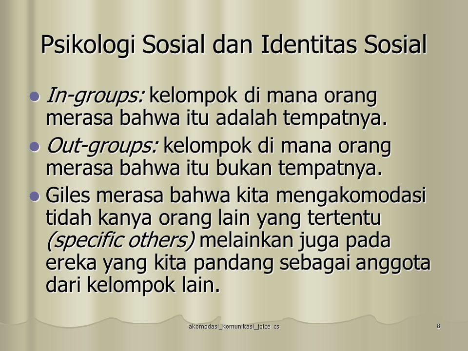 akomodasi_komunikasi_joice cs 8 Psikologi Sosial dan Identitas Sosial In-groups: kelompok di mana orang merasa bahwa itu adalah tempatnya. In-groups: