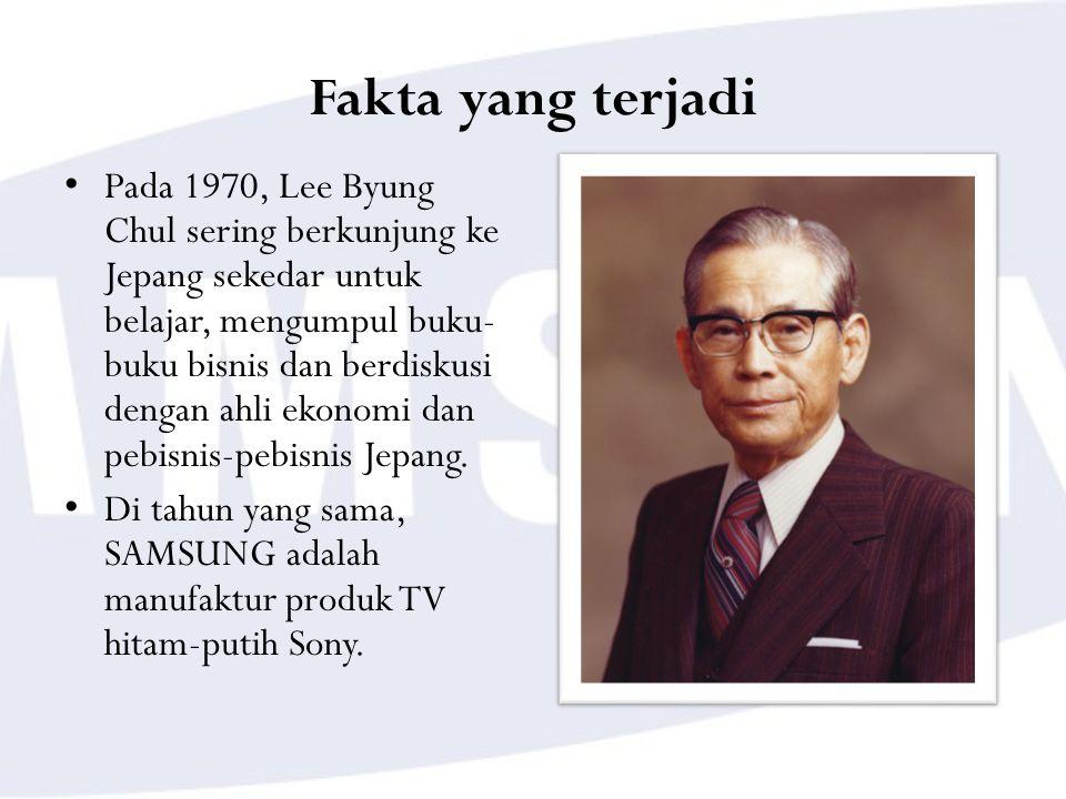 Fakta yang terjadi Pada 1970, Lee Byung Chul sering berkunjung ke Jepang sekedar untuk belajar, mengumpul buku- buku bisnis dan berdiskusi dengan ahli