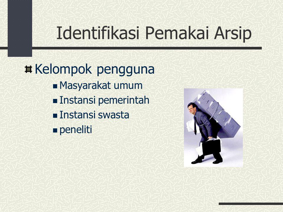 Identifikasi Pemakai Arsip Kelompok pengguna Masyarakat umum Instansi pemerintah Instansi swasta peneliti