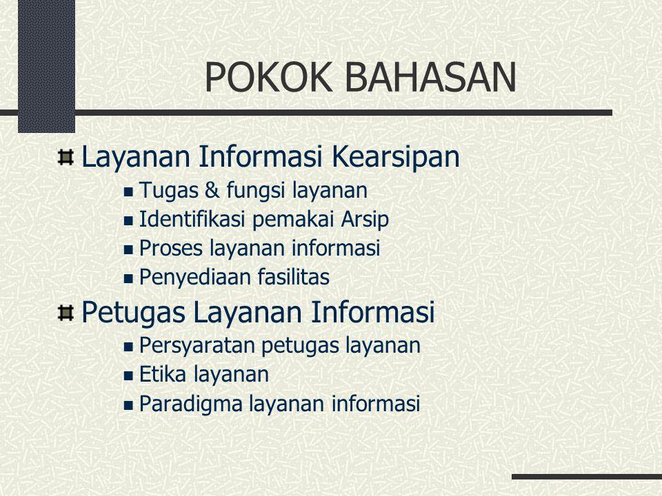 POKOK BAHASAN Layanan Informasi Kearsipan Tugas & fungsi layanan Identifikasi pemakai Arsip Proses layanan informasi Penyediaan fasilitas Petugas Laya