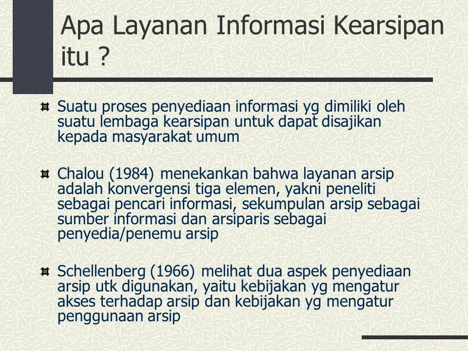 Apa Layanan Informasi Kearsipan itu ? Suatu proses penyediaan informasi yg dimiliki oleh suatu lembaga kearsipan untuk dapat disajikan kepada masyarak