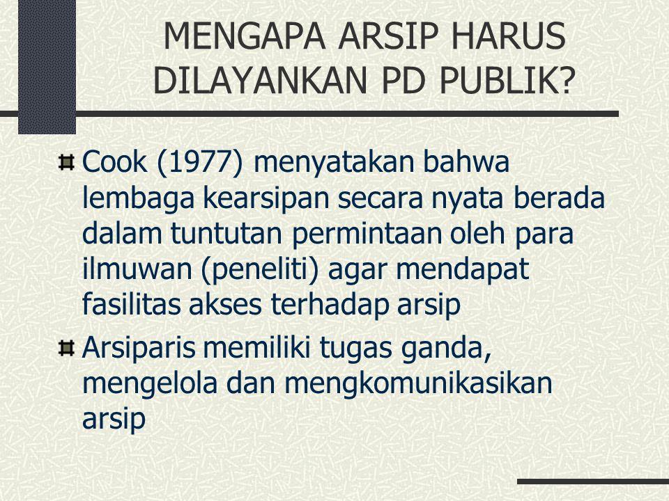 MENGAPA ARSIP HARUS DILAYANKAN PD PUBLIK? Cook (1977) menyatakan bahwa lembaga kearsipan secara nyata berada dalam tuntutan permintaan oleh para ilmuw