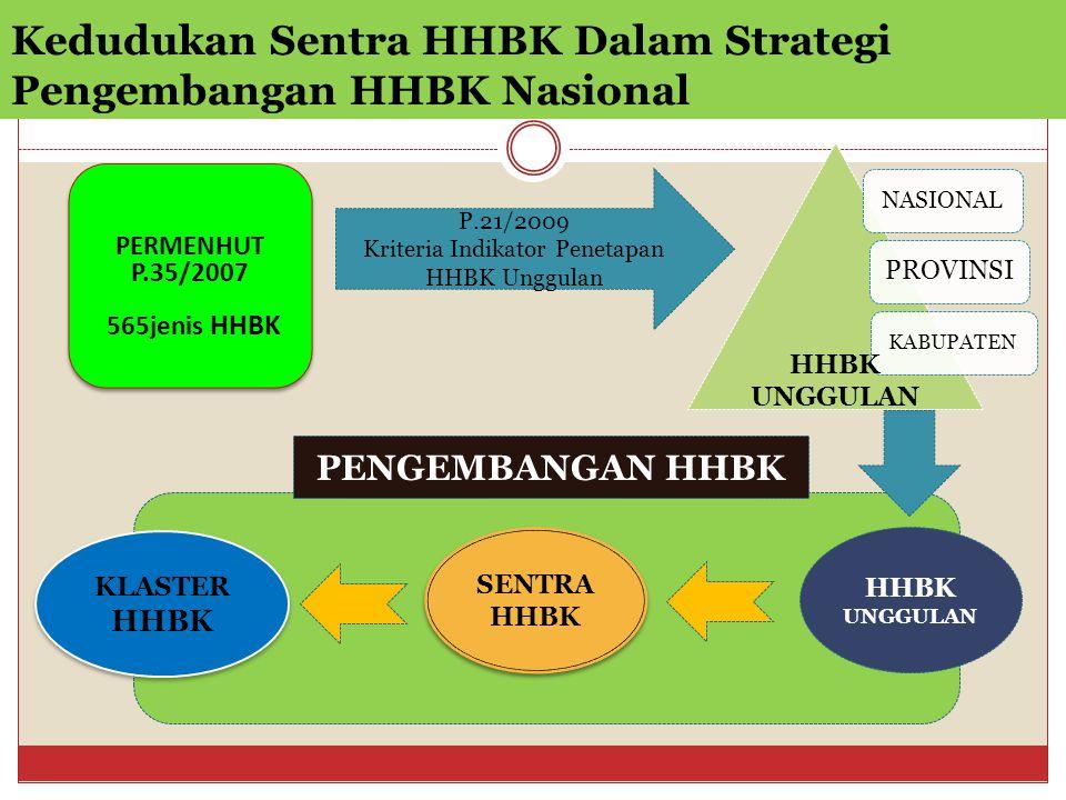 Kedudukan Sentra HHBK Dalam Strategi Pengembangan HHBK Nasional PERMENHUT P.35/2007 565jenis HHBK PERMENHUT P.35/2007 565jenis HHBK P.21/2009 Kriteria Indikator Penetapan HHBK Unggulan NASIONAL PROVINSI KABUPATEN HHBK UNGGULAN SENTRA HHBK SENTRA HHBK KLASTER HHBK KLASTER HHBK PENGEMBANGAN HHBK HHBK UNGGULAN