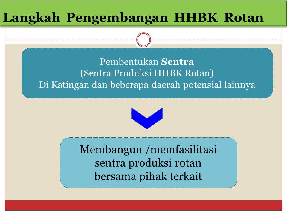 Langkah Pengembangan HHBK Rotan Pembentukan Sentra (Sentra Produksi HHBK Rotan) Di Katingan dan beberapa daerah potensial lainnya Membangun /memfasilitasi sentra produksi rotan bersama pihak terkait