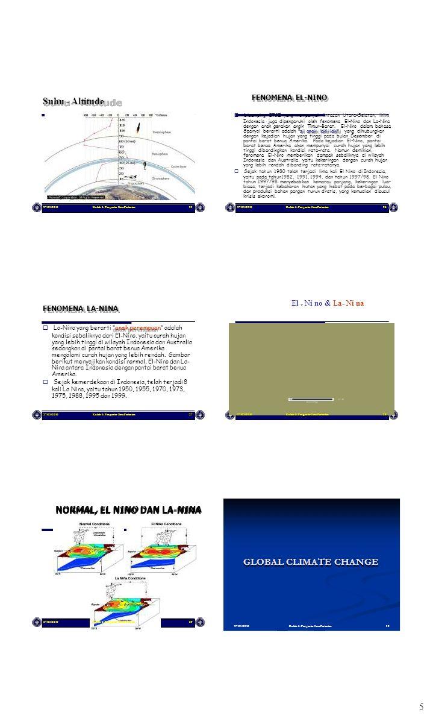 5 27/03/2010Kuliah 6. Pengantar Ilmu Pertanian25 Suhu - Altitude 27/03/2010Kuliah 6. Pengantar Ilmu Pertanian26 FENOMENA EL-NINO  Disamping ITCZ yan