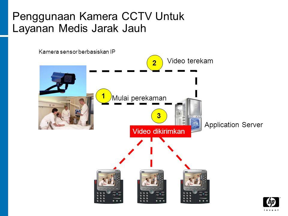 Penggunaan Kamera CCTV Untuk Layanan Medis Jarak Jauh Video terekam 2 Application Server Kamera sensor berbasiskan IP Mulai perekaman 13 Video dikirimkan