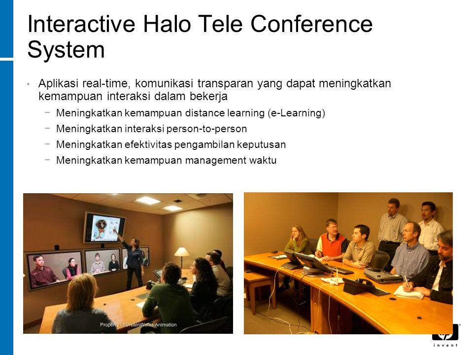 Interactive Halo Tele Conference System Aplikasi real-time, komunikasi transparan yang dapat meningkatkan kemampuan interaksi dalam bekerja −Meningkatkan kemampuan distance learning (e-Learning) −Meningkatkan interaksi person-to-person −Meningkatkan efektivitas pengambilan keputusan −Meningkatkan kemampuan management waktu