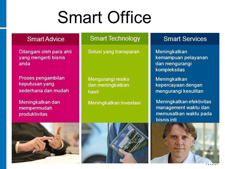 Smart Office Smart Advice Ditangani oleh para ahli yang mengerti bisnis anda Proses pengambilan keputusan yang sederhana dan mudah Meningkatkan dan mempermudah produktivitas Smart Technology Solusi yang transparan Mengurangi resiko dan meningkatkan hasil Meningkatkan investasi Smart Services Meningkatkan kemampuan pelayanan dan mengurangi kompleksitas Meningkatkan kepercayaan dengan mengurangi kesulitan Meningkatkan efektivitas management waktu dan memusatkan waktu pada bisnis inti