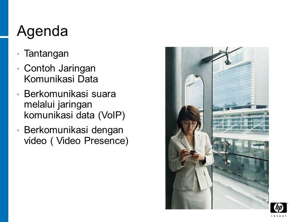 Agenda Tantangan Contoh Jaringan Komunikasi Data Berkomunikasi suara melalui jaringan komunikasi data (VoIP) Berkomunikasi dengan video ( Video Presence)