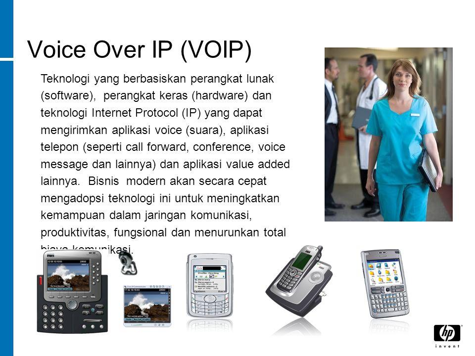 Voice Over IP (VOIP) Teknologi yang berbasiskan perangkat lunak (software), perangkat keras (hardware) dan teknologi Internet Protocol (IP) yang dapat mengirimkan aplikasi voice (suara), aplikasi telepon (seperti call forward, conference, voice message dan lainnya) dan aplikasi value added lainnya.