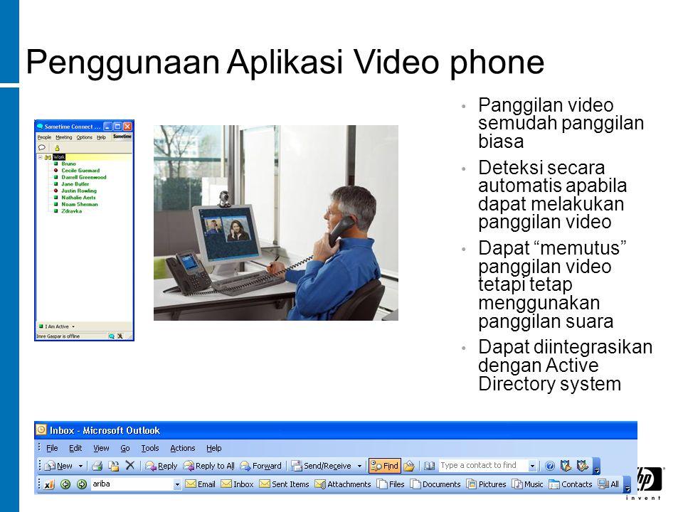 Penggunaan Aplikasi Video phone Panggilan video semudah panggilan biasa Deteksi secara automatis apabila dapat melakukan panggilan video Dapat memutus panggilan video tetapi tetap menggunakan panggilan suara Dapat diintegrasikan dengan Active Directory system