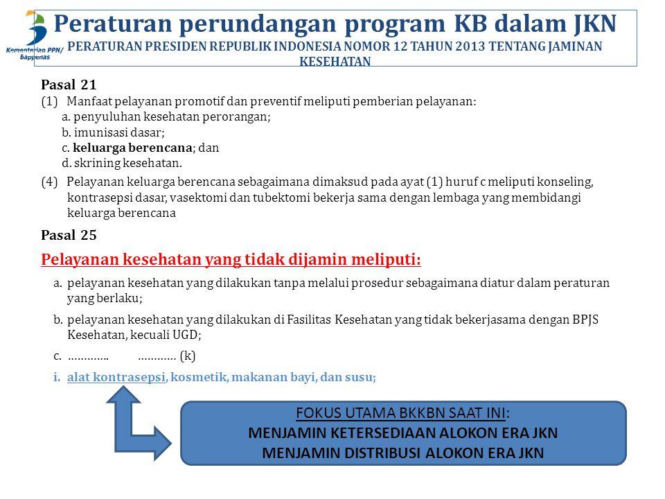 BAPPENAS Peraturan perundangan program KB dalam JKN PERATURAN PRESIDEN REPUBLIK INDONESIA NOMOR 12 TAHUN 2013 TENTANG JAMINAN KESEHATAN Pasal 21 (1) Manfaat pelayanan promotif dan preventif meliputi pemberian pelayanan: a.