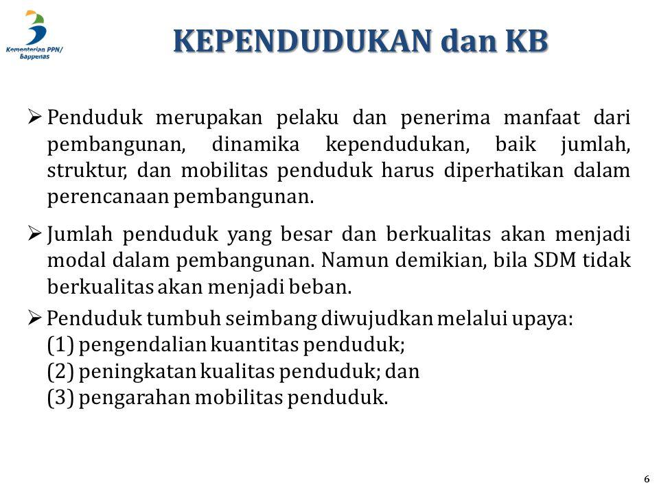 BAPPENAS KEPENDUDUKAN dan KB 7  Pengendalian kuantitas penduduk dilakukan melalui Keluarga Berencana (KB).