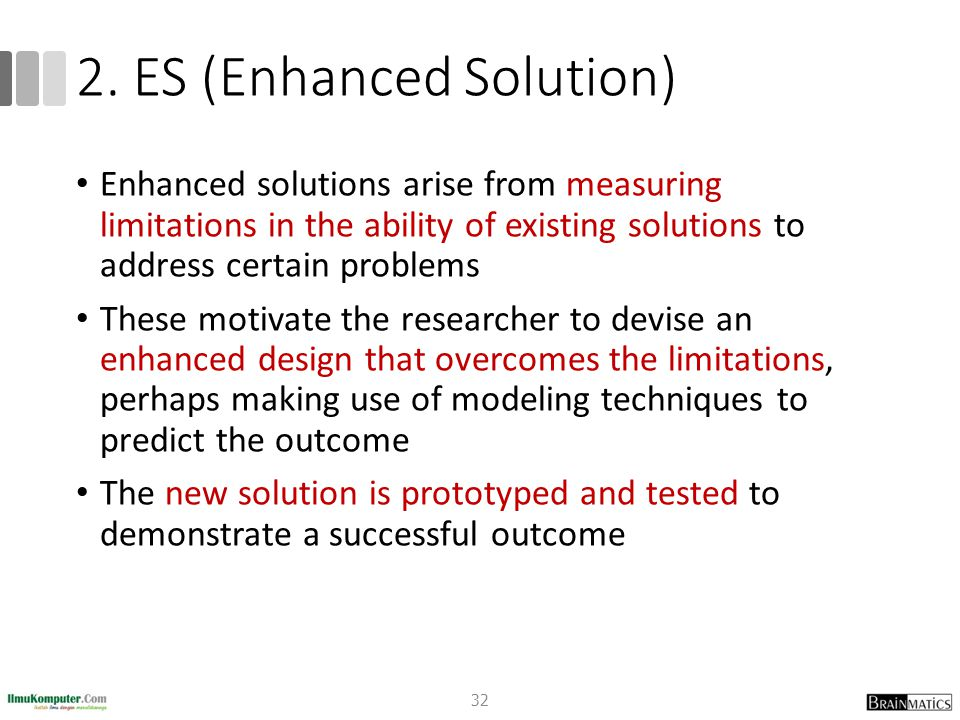 2. ES (Enhanced Solution) Enhanced solutions arise from measuring limitations in the ability of existing solutions to address certain problems These m