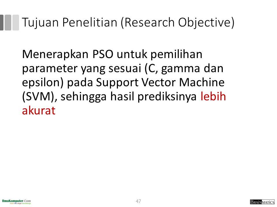 Tujuan Penelitian (Research Objective) Menerapkan PSO untuk pemilihan parameter yang sesuai (C, gamma dan epsilon) pada Support Vector Machine (SVM),