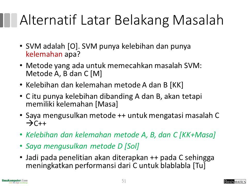 Alternatif Latar Belakang Masalah SVM adalah [O]. SVM punya kelebihan dan punya kelemahan apa? Metode yang ada untuk memecahkan masalah SVM: Metode A,