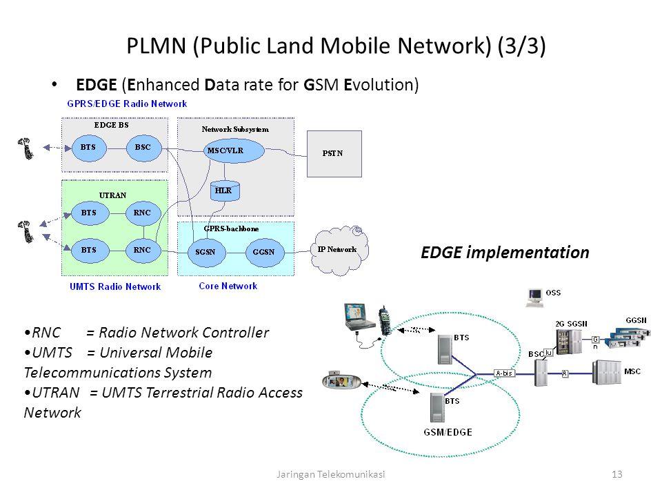 Jaringan Telekomunikasi13 PLMN (Public Land Mobile Network) (3/3) EDGE (Enhanced Data rate for GSM Evolution) EDGE implementation RNC = Radio Network Controller UMTS = Universal Mobile Telecommunications System UTRAN= UMTS Terrestrial Radio Access Network