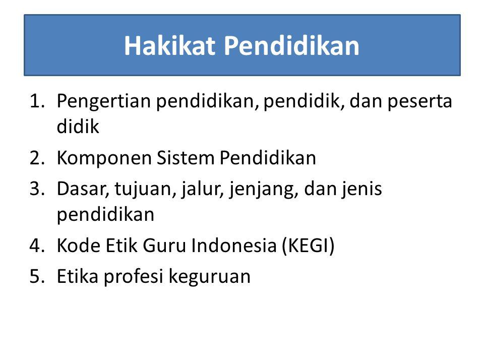 Hakikat Pendidikan 1.Pengertian pendidikan, pendidik, dan peserta didik 2.Komponen Sistem Pendidikan 3.Dasar, tujuan, jalur, jenjang, dan jenis pendidikan 4.Kode Etik Guru Indonesia (KEGI) 5.Etika profesi keguruan