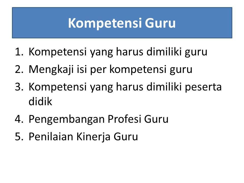 Kompetensi Guru 1.Kompetensi yang harus dimiliki guru 2.Mengkaji isi per kompetensi guru 3.Kompetensi yang harus dimiliki peserta didik 4.Pengembangan Profesi Guru 5.Penilaian Kinerja Guru