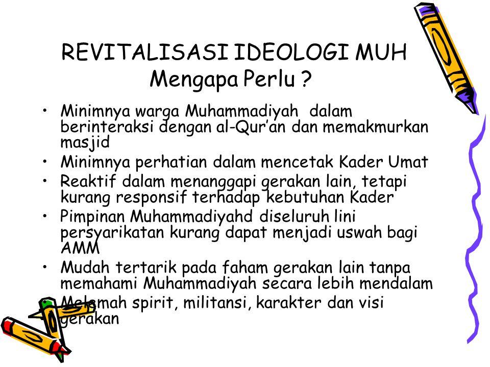 REVITALISASI IDEOLOGI MUH Mengapa Perlu ? Minimnya warga Muhammadiyah dalam berinteraksi dengan al-Qur'an dan memakmurkan masjid Minimnya perhatian da