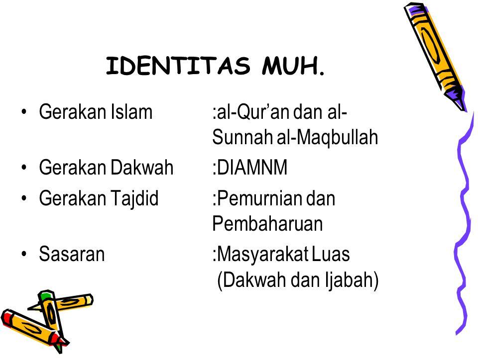 IDENTITAS MUH. Gerakan Islam:al-Qur'an dan al- Sunnah al-Maqbullah Gerakan Dakwah:DIAMNM Gerakan Tajdid:Pemurnian dan Pembaharuan Sasaran :Masyarakat