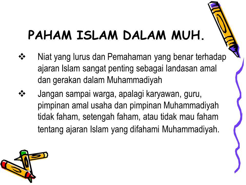 Niat yang lurus dan Pemahaman yang benar terhadap ajaran Islam sangat penting sebagai landasan amal dan gerakan dalam Muhammadiyah  Jangan sampai w