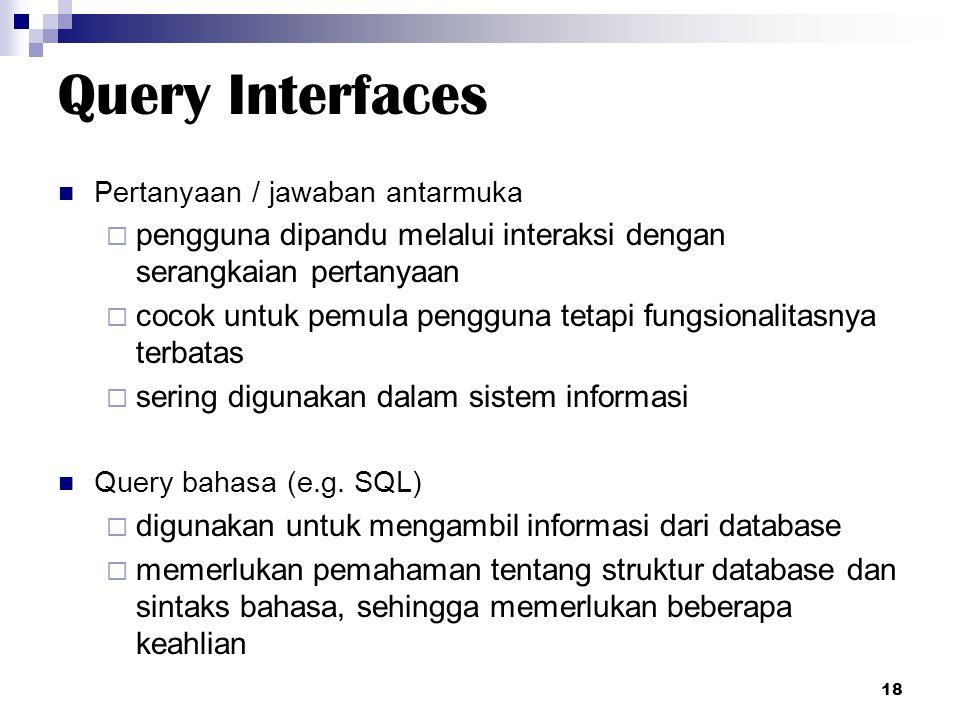 Query Interfaces Pertanyaan / jawaban antarmuka  pengguna dipandu melalui interaksi dengan serangkaian pertanyaan  cocok untuk pemula pengguna tetap