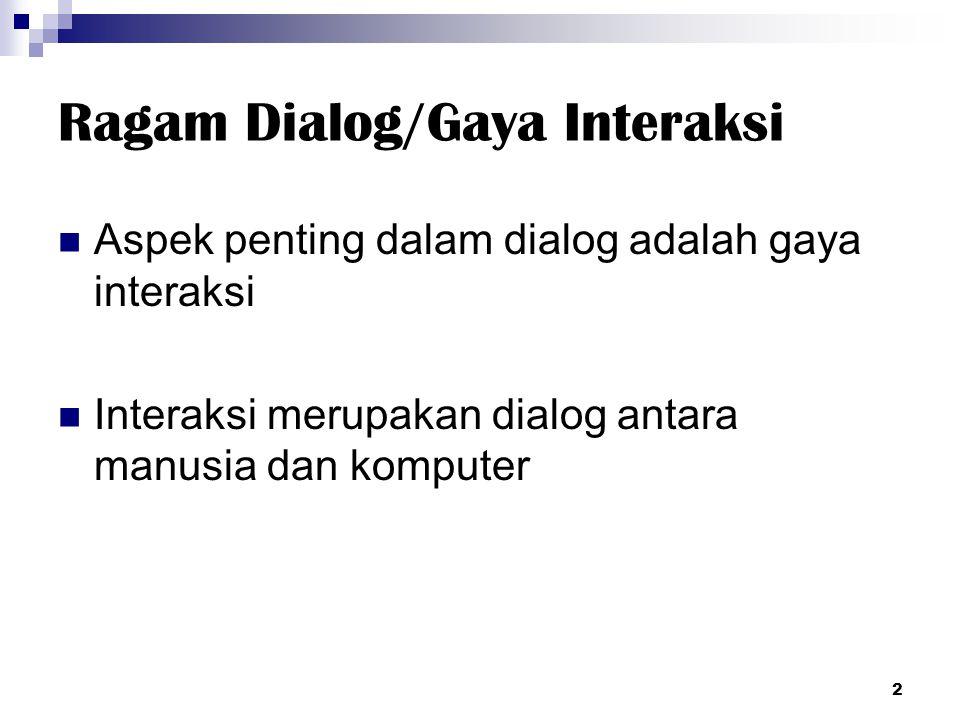 Ragam Dialog/Gaya Interaksi Aspek penting dalam dialog adalah gaya interaksi Interaksi merupakan dialog antara manusia dan komputer 2