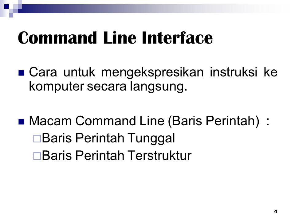 Command Line Interface Cara untuk mengekspresikan instruksi ke komputer secara langsung. Macam Command Line (Baris Perintah) :  Baris Perintah Tungga