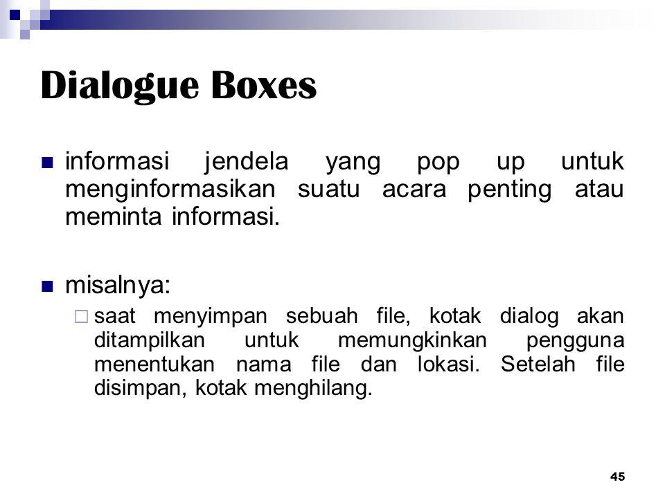 Dialogue Boxes informasi jendela yang pop up untuk menginformasikan suatu acara penting atau meminta informasi. misalnya:  saat menyimpan sebuah file