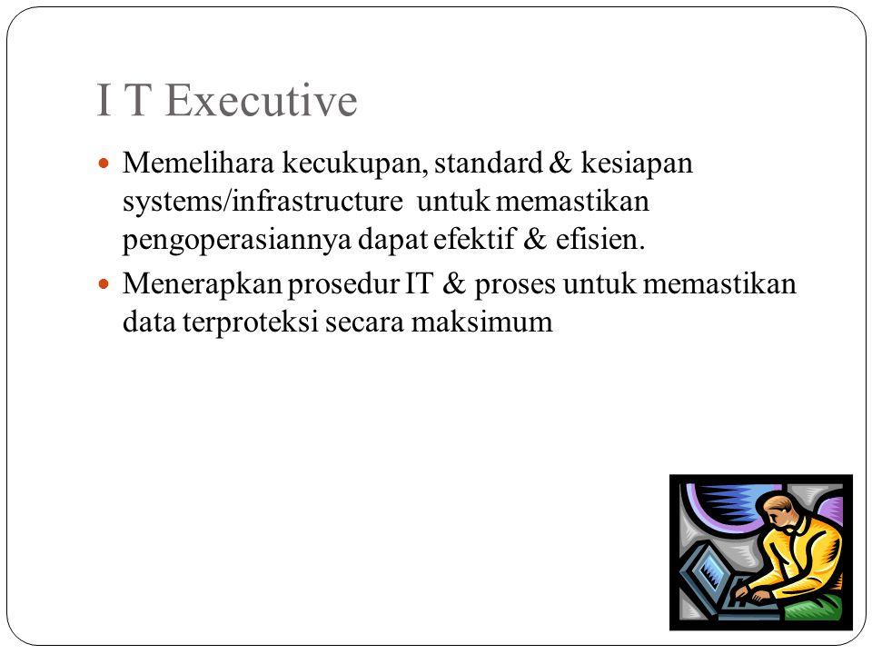 I T Executive Memelihara kecukupan, standard & kesiapan systems/infrastructure untuk memastikan pengoperasiannya dapat efektif & efisien. Menerapkan p