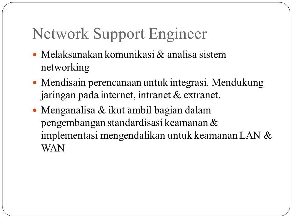 Network Support Engineer Melaksanakan komunikasi & analisa sistem networking Mendisain perencanaan untuk integrasi. Mendukung jaringan pada internet,