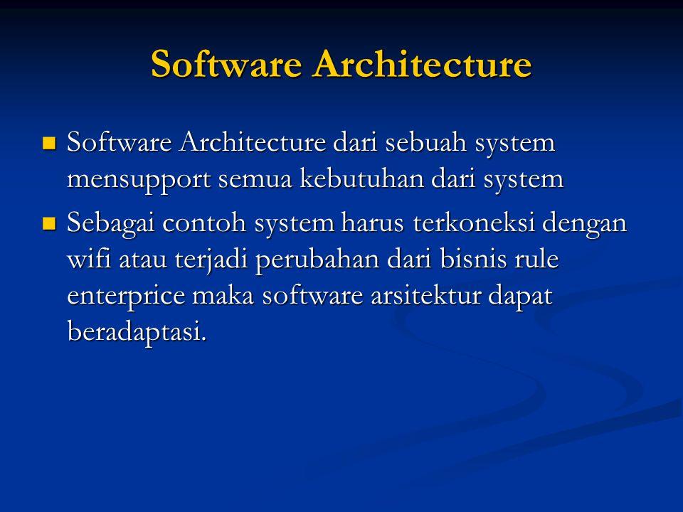 Software Architecture Software Architecture dari sebuah system mensupport semua kebutuhan dari system Software Architecture dari sebuah system mensupp
