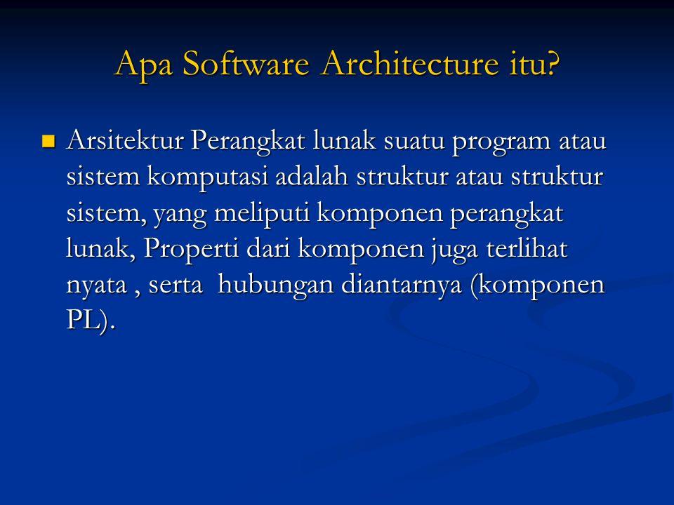 Apa Software Architecture itu? Arsitektur Perangkat lunak suatu program atau sistem komputasi adalah struktur atau struktur sistem, yang meliputi komp