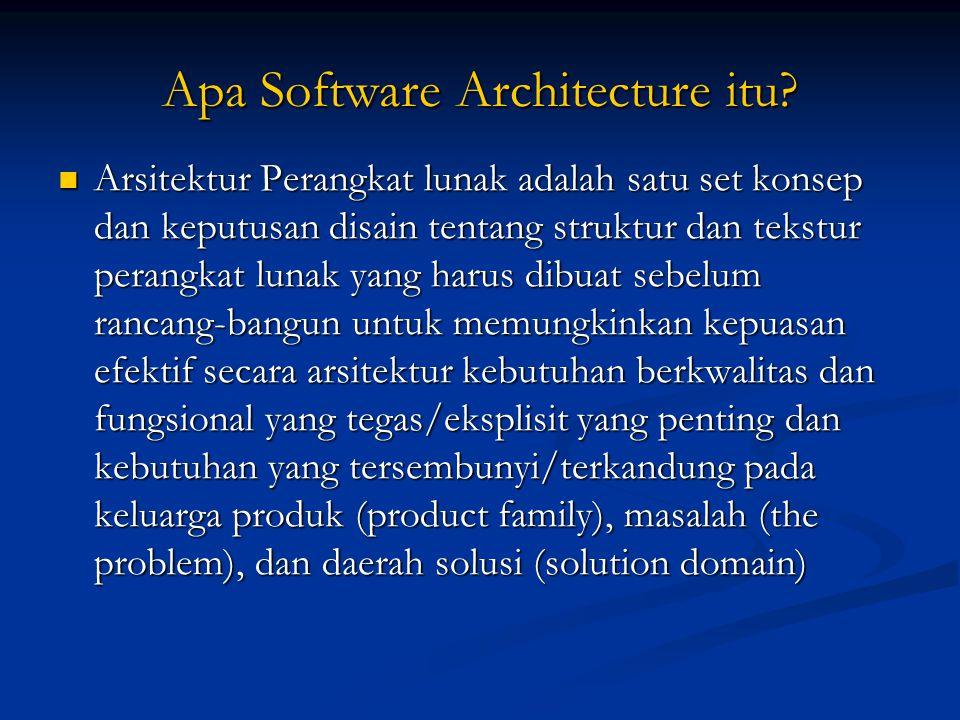 Apa Software Architecture itu? Arsitektur Perangkat lunak adalah satu set konsep dan keputusan disain tentang struktur dan tekstur perangkat lunak yan