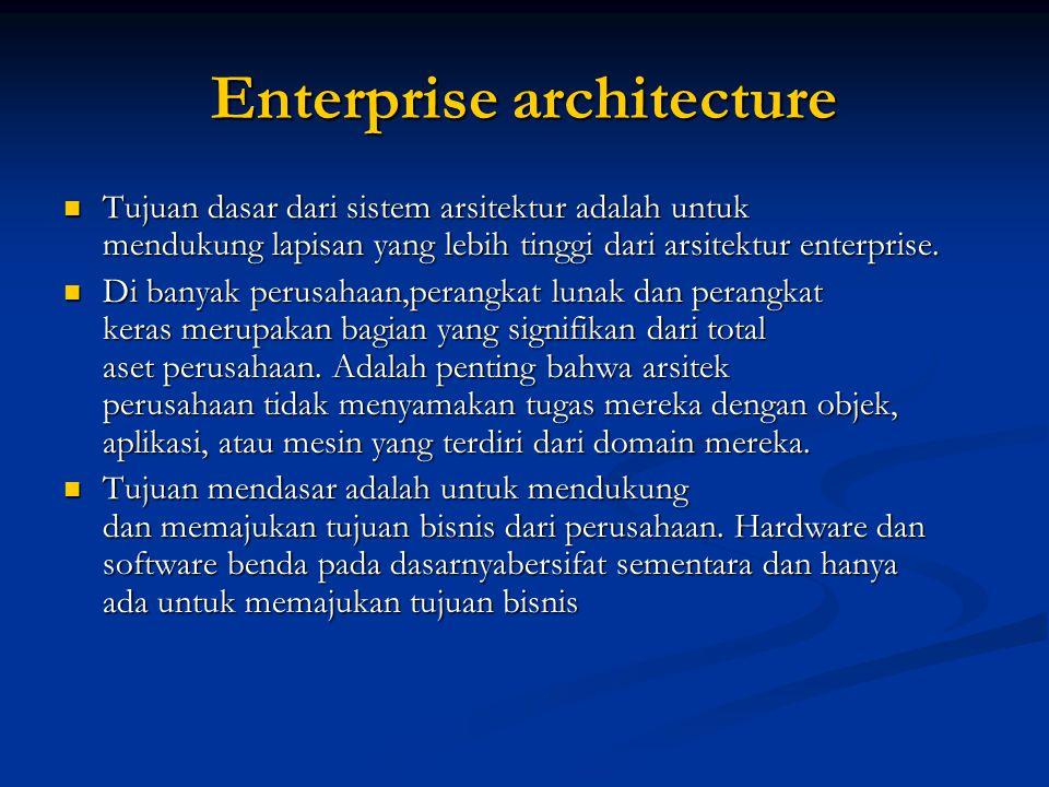 Enterprise architecture Tujuan dasar dari sistem arsitektur adalah untuk mendukung lapisan yang lebih tinggi dari arsitektur enterprise. Tujuan dasar