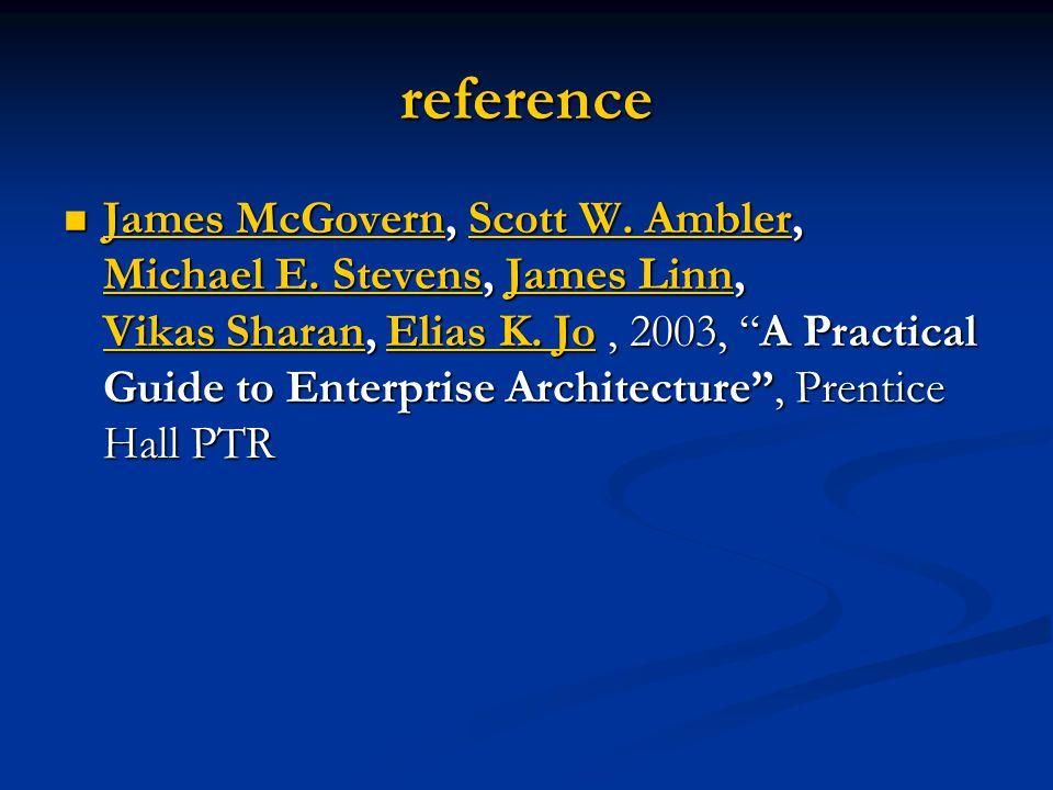 "reference James McGovern, Scott W. Ambler, Michael E. Stevens, James Linn, Vikas Sharan, Elias K. Jo, 2003, ""A Practical Guide to Enterprise Architect"