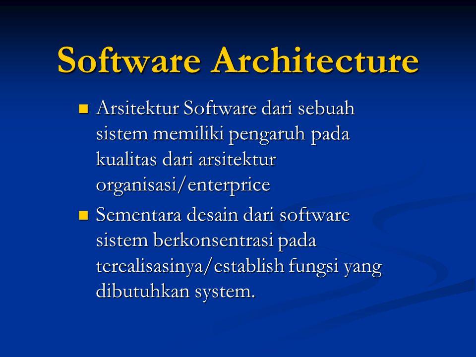Software Architecture Arsitektur Software dari sebuah sistem memiliki pengaruh pada kualitas dari arsitektur organisasi/enterprice Arsitektur Software