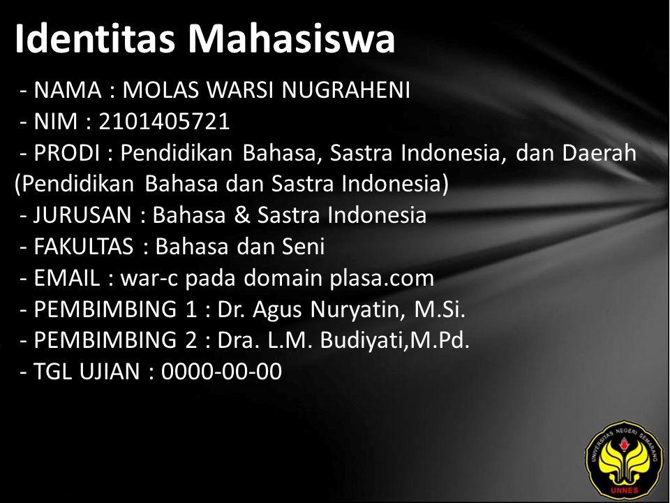 Identitas Mahasiswa - NAMA : MOLAS WARSI NUGRAHENI - NIM : 2101405721 - PRODI : Pendidikan Bahasa, Sastra Indonesia, dan Daerah (Pendidikan Bahasa dan Sastra Indonesia) - JURUSAN : Bahasa & Sastra Indonesia - FAKULTAS : Bahasa dan Seni - EMAIL : war-c pada domain plasa.com - PEMBIMBING 1 : Dr.
