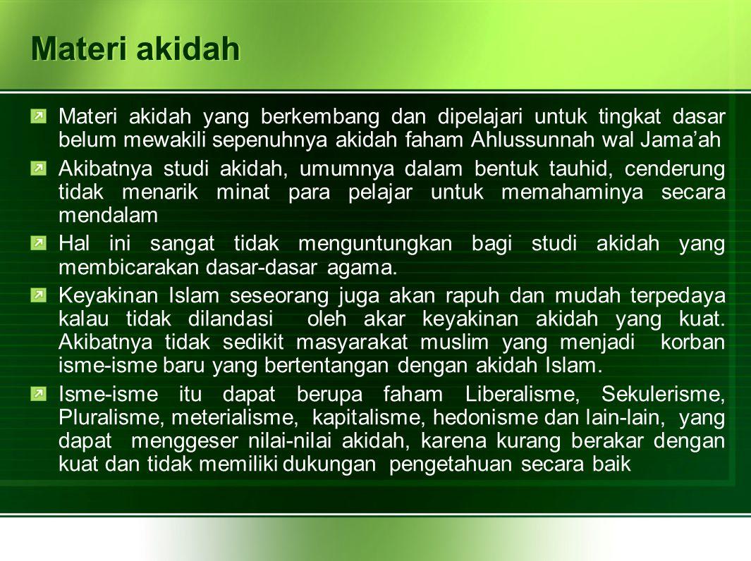 Aktualisasi materi ahlussunnah wal jama'ah untuk membentuk masyarakat madani Aktualisasi materi Ahlussunnah wal Jama'ah adalah adalah menjadikan materi Ahlussunnah wal Jama'ah secara normatif dapat menjadi referensi actual bagi kehidupan sehari-hari.