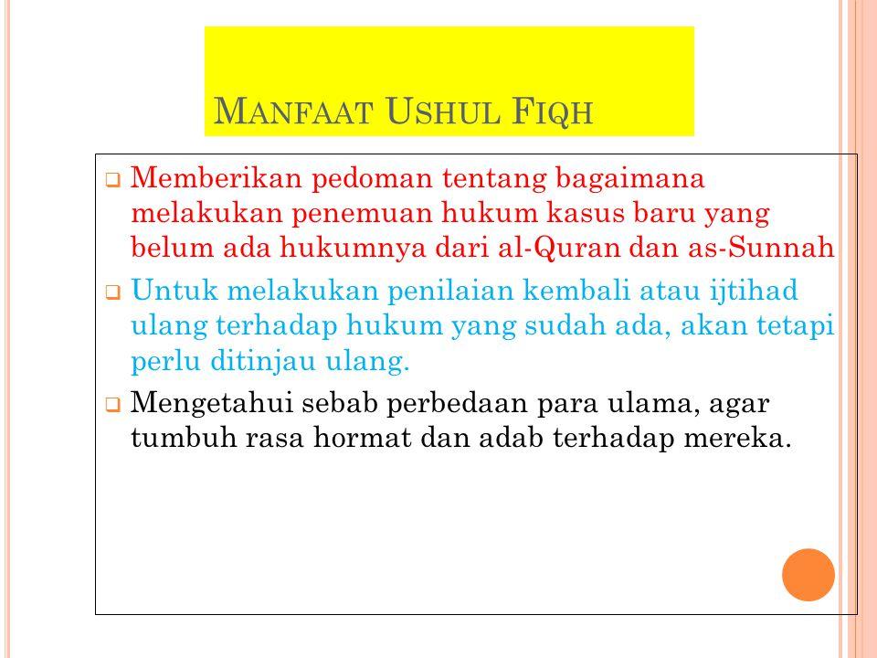 M ANFAAT U SHUL F IQH  Memberikan pedoman tentang bagaimana melakukan penemuan hukum kasus baru yang belum ada hukumnya dari al-Quran dan as-Sunnah  Untuk melakukan penilaian kembali atau ijtihad ulang terhadap hukum yang sudah ada, akan tetapi perlu ditinjau ulang.