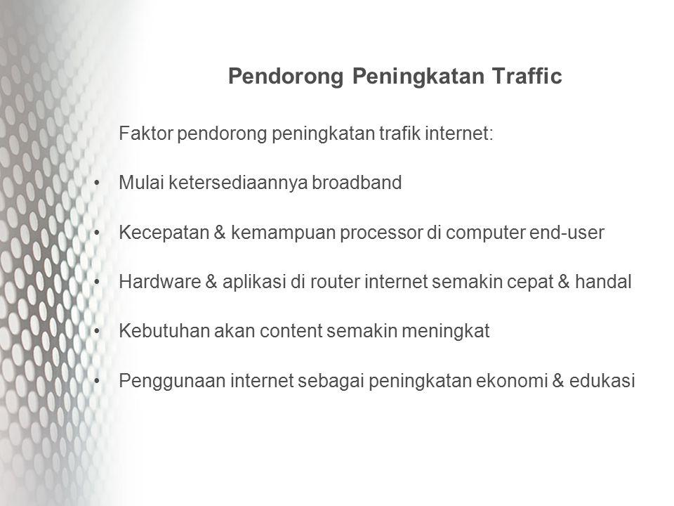 Pendorong Peningkatan Traffic Faktor pendorong peningkatan trafik internet: Mulai ketersediaannya broadband Kecepatan & kemampuan processor di computer end-user Hardware & aplikasi di router internet semakin cepat & handal Kebutuhan akan content semakin meningkat Penggunaan internet sebagai peningkatan ekonomi & edukasi