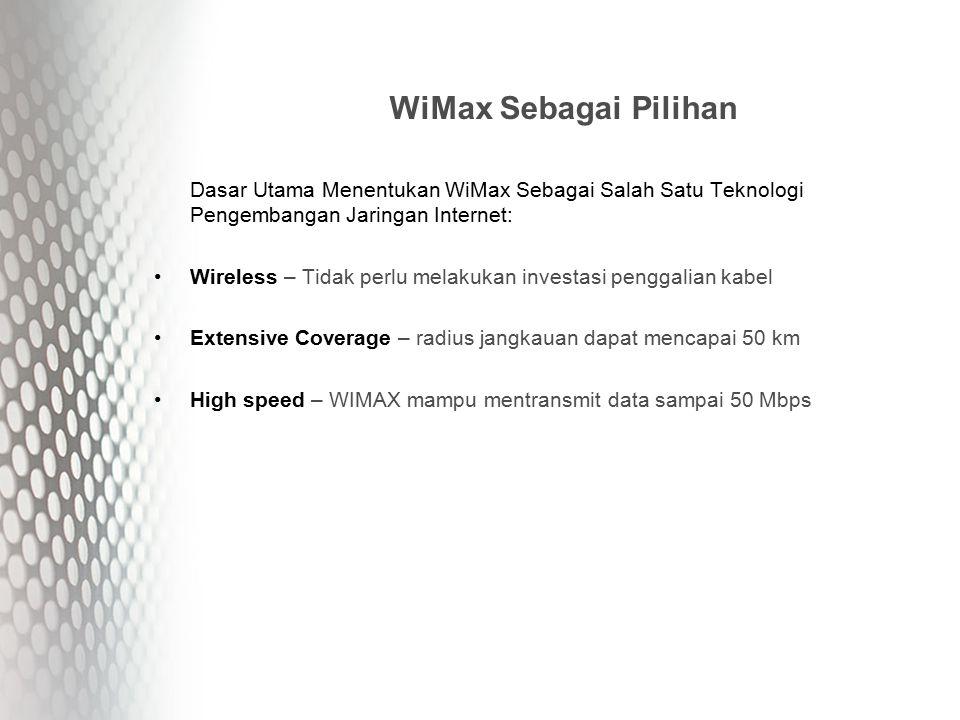 WiMax Sebagai Pilihan Dasar Utama Menentukan WiMax Sebagai Salah Satu Teknologi Pengembangan Jaringan Internet: Wireless – Tidak perlu melakukan investasi penggalian kabel Extensive Coverage – radius jangkauan dapat mencapai 50 km High speed – WIMAX mampu mentransmit data sampai 50 Mbps