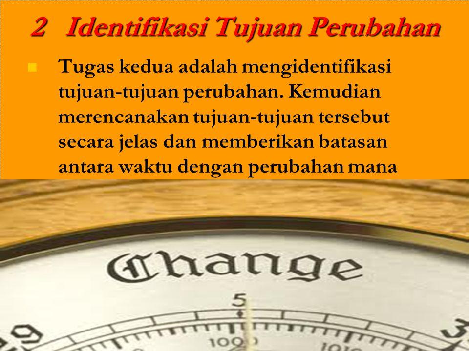 2 Identifikasi Tujuan Perubahan Tugas kedua adalah mengidentifikasi tujuan-tujuan perubahan. Kemudian merencanakan tujuan-tujuan tersebut secara jelas