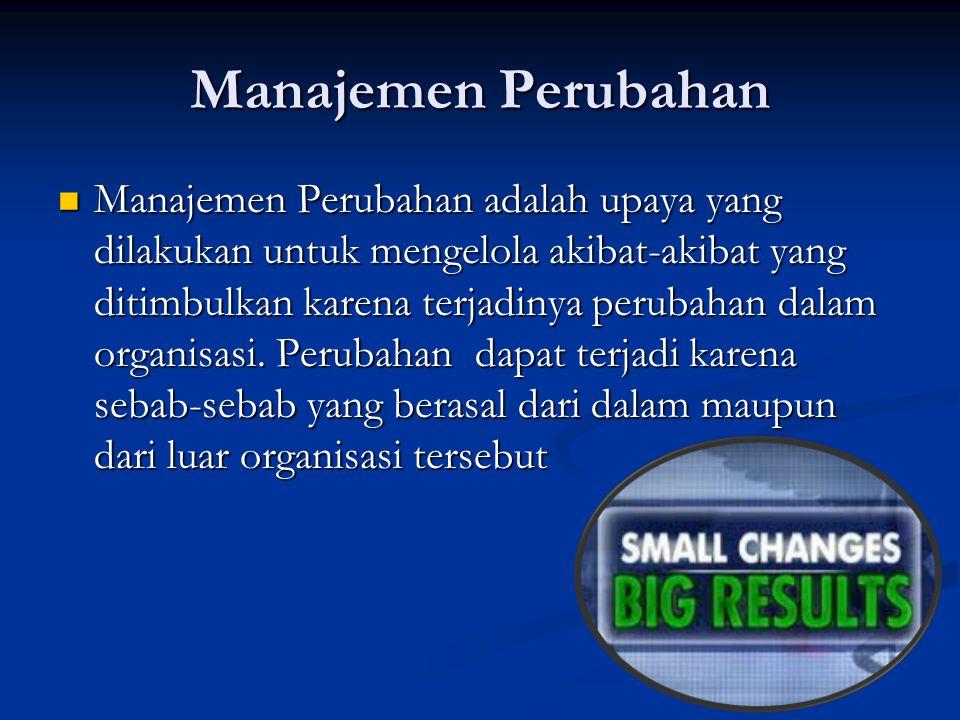 Manajemen Perubahan Manajemen Perubahan adalah upaya yang dilakukan untuk mengelola akibat-akibat yang ditimbulkan karena terjadinya perubahan dalam o