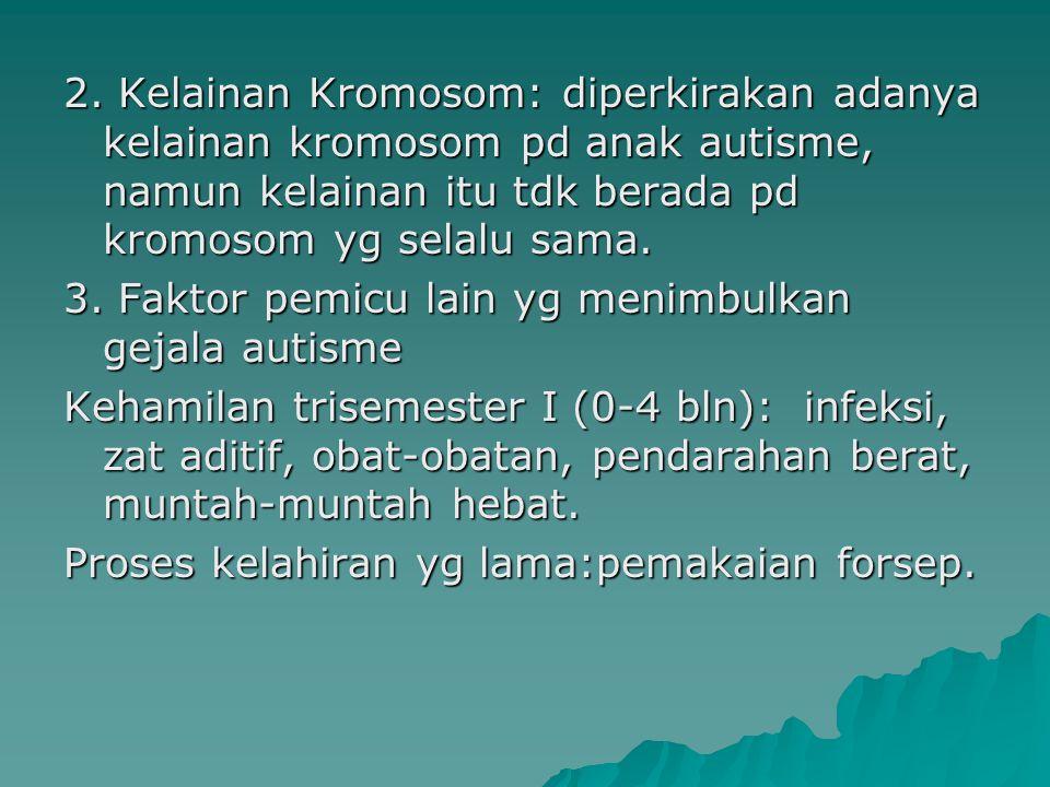 2. Kelainan Kromosom: diperkirakan adanya kelainan kromosom pd anak autisme, namun kelainan itu tdk berada pd kromosom yg selalu sama. 3. Faktor pemic